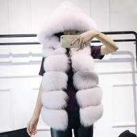 Winter Woman Coat Faux Fur Coat Jackets For Women Female Clothes Women's Tops Hat Sleeveless Jacket Fur Vests Warm Gilet 180