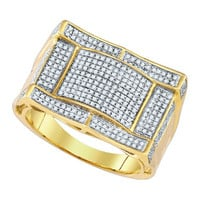 Diamond Micro Pave Mens Ring in 10k Gold 0.69 ctw