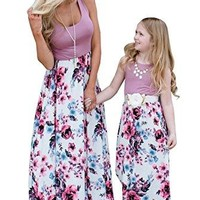 Mommy and Me Matching Maxi Dresses,Sleeveless Top Bohemia Floral Printed Matching Outfits with Pockets