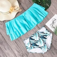 Bikini Set beach body Minimalism Le Sexy High Waist Swimsuit Print Swimwear 2018 One Shoulder  Ruffle Shoulder Bathing Suit Women Bikinis