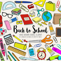 Back To School Clipart. Hand Drawn School Clip Art. Doodle Stationery, Backpack, Office Clipart Images. Digital Clock, Art Supplies, Paints.