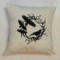 Raven Wreath Embroidered Pillow Cover