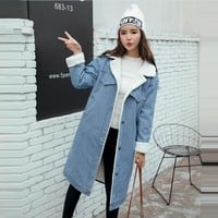 Loose Lamb Fur Denim Jacket Winter Woman Long Ccoats 2018 Streetwear Casaco Feminino Thick Jean Jackets Oversize Bomber Jacket