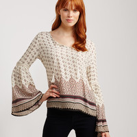 Long Sleeve Lace Accent Peasant Top