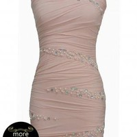 Nude Strapless Bodycon Dress with Pearl&Diamante Detail