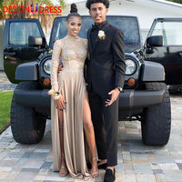 Sexy High Slit African Black Girls Long Prom Dresses 2017 Robe de Soiree Long Sleeves Lace Chiffon Party Dress Evening Gowns
