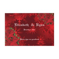 Beautiful Christmas Red, Snowflakes, Custom Guest Book
