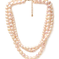 FOREVER 21 Marbled Faux Pearl Necklace Pink/Cream One