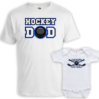 Matching Father And Baby Father Son Matching Shirts Father And Daughter Gift For New Dad Hockey Dad Daddy's #1 Fan Bodysuit MAT-724-725