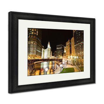 Framed Print, Chicago River At Night