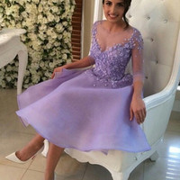 2016 Homecoming dress,Short prom Dress,lavender Prom Dresses,long sleeves prom dress,BD1239