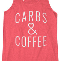 Carbs & Coffee -  Fitness and Workout Racerback Tank Yoga Tanktop Gym Starbucks IIFYM Love Crossfit