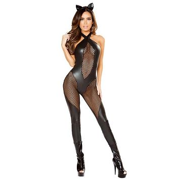 Sexy Bad Kitty Latex and Fishnet Catsuit Costume with Ears and Detachable Tail