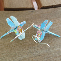 Origami Dragonfly Earrings, Dragonfly Jewelry, Blue Dragonfly Earrings, Blue Earrings, Cute Blue Earrings, Sky Blue Earrings, Blue Jewelry