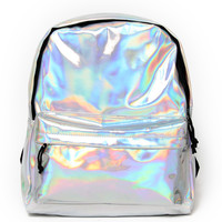 Motel Street Pack Ruck Sack in Iridescent Silver