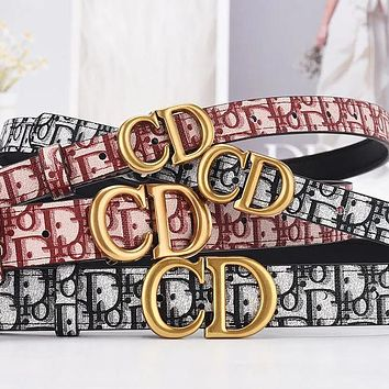 Dior classic letter gold buckle head ladies small temperament letter printing belt