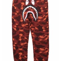 BAPE 1st Camo Shark Sweatpants Red