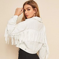 White Wash Fringe Detail Denim Jacket