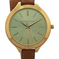 mk2256 slim runway luggage leather double wrap strap watch by michael kors