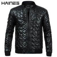 HAINES Brand Faux Leather Jackets Warm Cotton Padded Winter Jackets Men 2018 Fashion Stand Collar Zipper Leather Jacket Coat