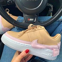 Air Force 1 AF1 Nike JESTER Transformed Crooked Sneakers Flat Shoes Khaki+Pink hook