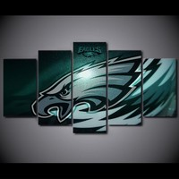 5Piece Canvas  Prints Living Room Picture Wall Decor Philadelphia Eagles Rugby Logo  Print Poster Pictures  Wall Art Pictures