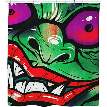 green graffiti gremlin shower curtain