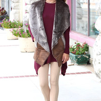 Oil Finish Faux Sherpa Vest {Brown Mix}