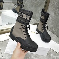 Dior lace up shell head knight boots