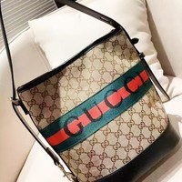 Gucci Unisex Casual Large Capacity Embossed Letter Shoulder Crossbody Bag  Black