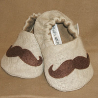 Baby Booties -  Newborn, Infant, Baby Slippers, Crib Shoes, Footwear, 0 - 18 Months - Mustache Booties