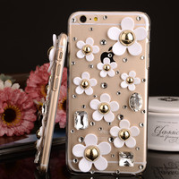 Luxury Rhinestone Fresh and lovely little white flowers crystal Hard Back case For Apple iPhone4 5s 5c 6 6s Plus case cover