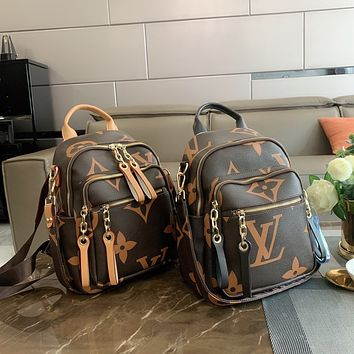 LV Women Leather Bookbag Shoulder Bag Handbag Backpack