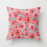 Pink Floral Pattern Throw Pillow by Tanyadraws