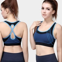 Womens Profession Running Workout Yoga Fitness Bra Vest Dry-fast Shockproof Sports Bras Tank Top -10