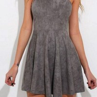 Gray Halter Short trapless Homecoming Dress