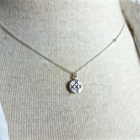 Micro Compass 925 Sterling Silver Charm & Conflict Free Rough Floating Diamond Necklace; Unique Good Luck Charm; Solitaire Diamond for Her