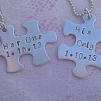 Personalized Jewelry Her One His Only Puzzle Necklaces also in keychain sets!