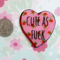 TOO cute Brooch, Valentine heart, Holographic glitter, feminist brooch, tumblr, 90's fashion, 90's style, dope Badge