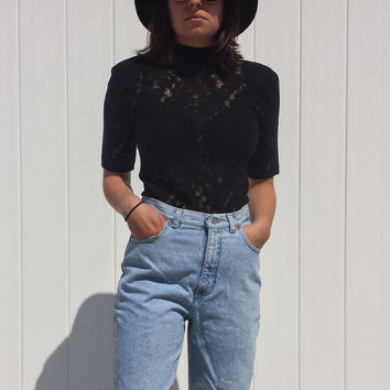 70s Vintage Blue Denim Jean GAP High Waisted Womans Jeans - Small