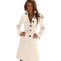 New Fashion Long Trench Coat For Women 2016 Spring Autumn Women's Wool Blend Overcoat Female Single Breasted Trenchcoat Femme