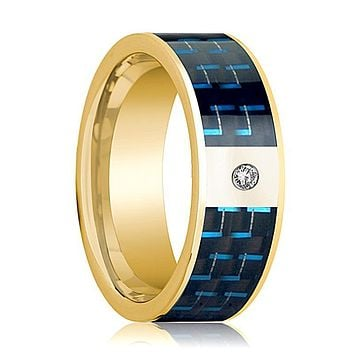 Black and Blue Carbon Fiber Inlaid Men's 14k Gold Wedding Band with Diamond in Center - 8MM