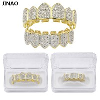 JINAO Hip Hop Teeth Grillz GOLD Color&Silver Plated Micro Pave CZ Gold Fang Top & Bottom Teeth Grills Vampire Set Ship From US