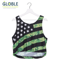 2016 Summer New Style Short Tank Top USA Weed Adid 3D Printed Women Tops Crop Sexy Vest Female Sleeveless Women Camis TS425