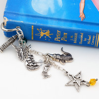 Peter Pan Feather Bookmark with Big Ben, Fairy, Pirate Ship, Crocodile, Mermaid and Star Charms (Metal, Hook)