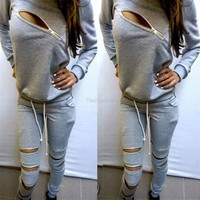 Stylish Ladies Women Two Pieces Long Sleeve Zipper Hoodie Sweat and Pants Sports Outfits Set