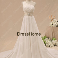 One-shoulder White Wedding Dress With Train / Custom Make Wedding Dress / Long Bridal Dress / One-shoulder Bridal Gown / Wedding Party Dress