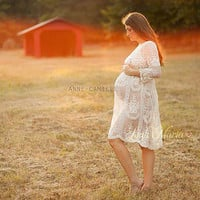"The ""Jolie"" Cream Knee Length Lace Dress - Sheer - Maternity - Pregnancy - Vintage - Ivory - Photography Prop - Gown - Photographer"