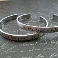 lives, lived, will live - hand stamped bioshock infinite lutece twins quote aluminum skinny cuff friendship bracelets