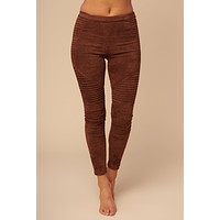 Probably Not Faux Suede Moto Leggings (Brown)